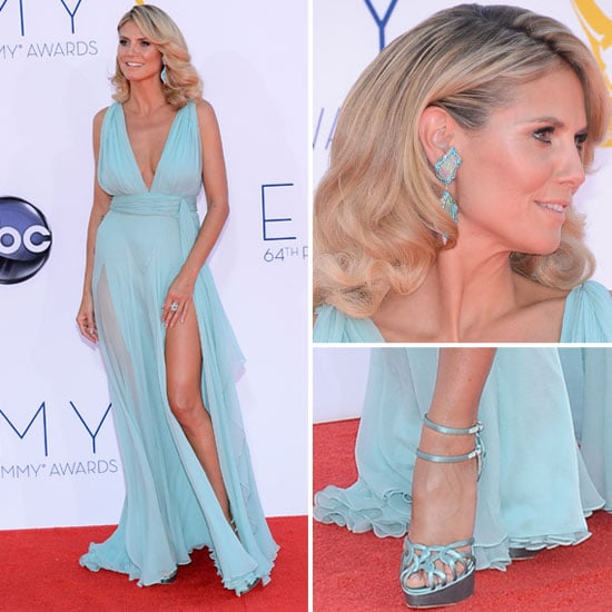 Pictures of Heidi Klum in Alexandre Vauthier gown on the red carpet at 2012 Emmy Awards