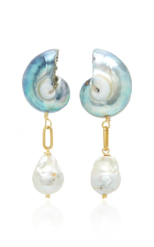 Brinker & Eliza Snow Day 24K Gold-Plated Pearl and Shell Earrings