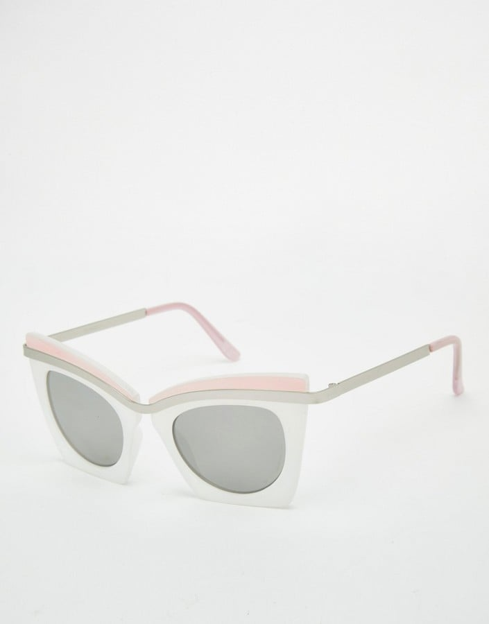 Asos Highbrow Square Cat Eye Sunglasses In Color Block With Built Up Highbrow ($21)