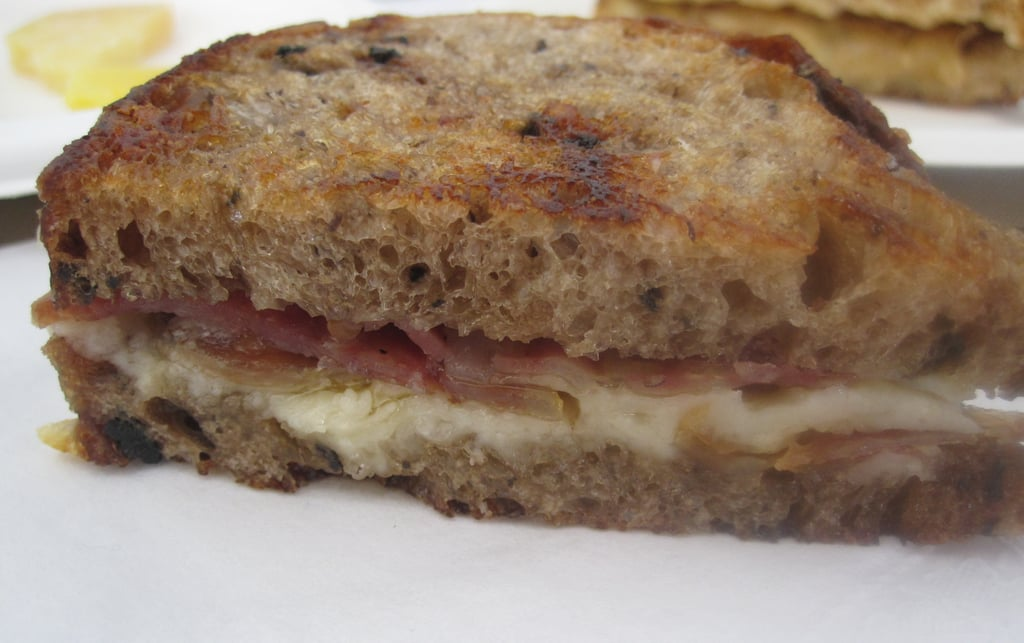 My favorite sandwich was salami and cheese on olive bread.