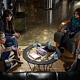 All the girls look cute, but we can't peel our eyes away from Aria's printed sweater and leather pants.