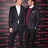 Max Irons and Sam Claflin chatted on the red carpet at the December 2014 premiere of The Riot Club in Paris.