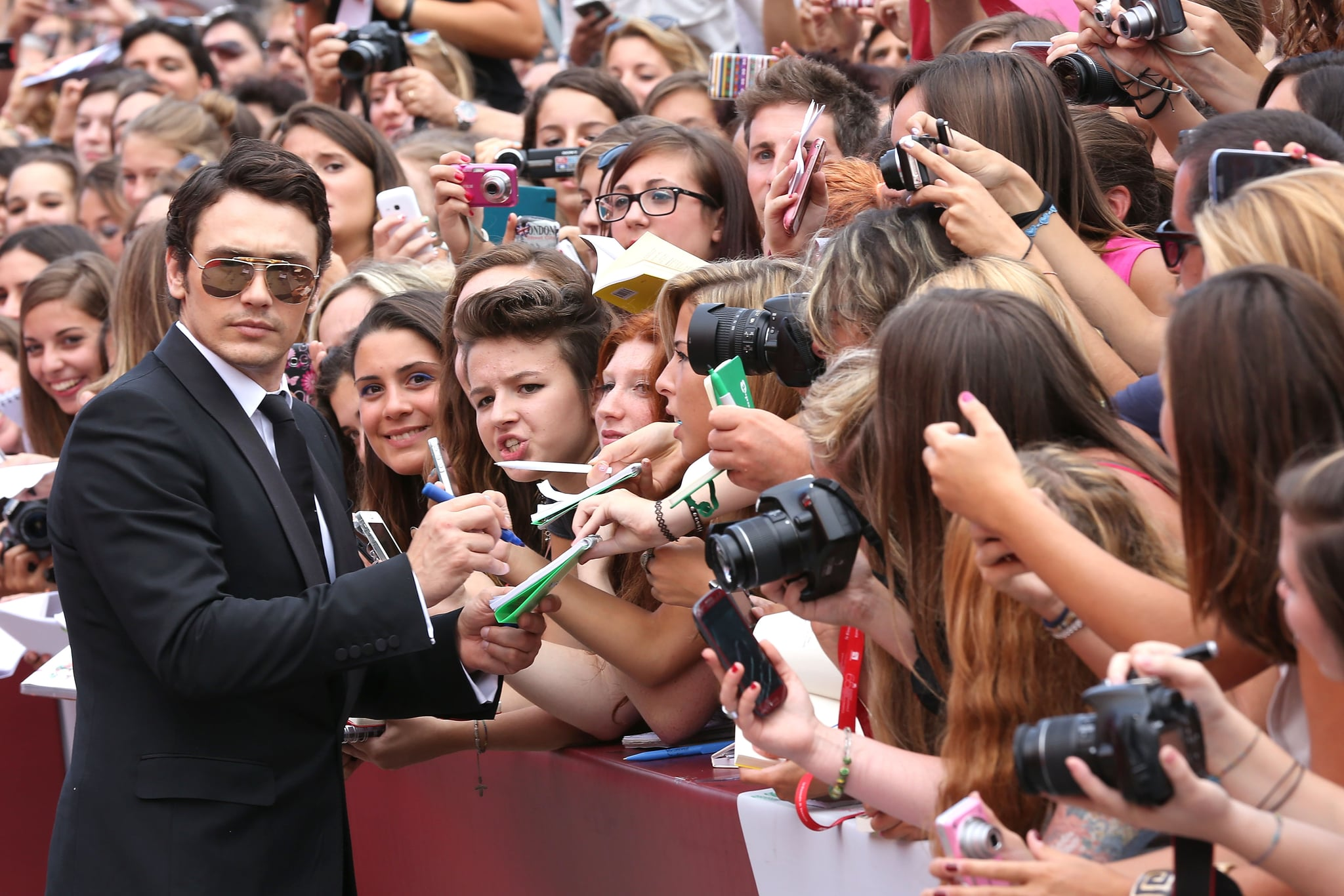 James Franco greeted fans at the Palo Alto premiere.