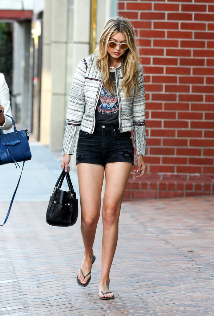 She reworked a rocker tee with a tweed jacket for downtime in Beverly Hills.