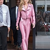 In June 2017, the model blessed us with a Barbie-like outfit complete with embellished Aquazzura heels.