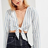 UO Tie-Front Striped Cropped Top