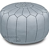 Moroccan Flair Leather Moroccan Pouf in Gray