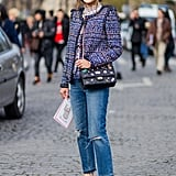 Go high-low with a ladylike tweed jacket and distressed skinny jeans for Fall, Winter, and Spring alike.