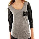 Leather sleeves give this JC Penney tee ($13) a cool-girl upgrade.
