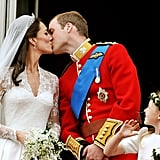 Other members of the family chose to marry outside London, so the next royal balcony kiss was at William and Kate's big day in 2011.
