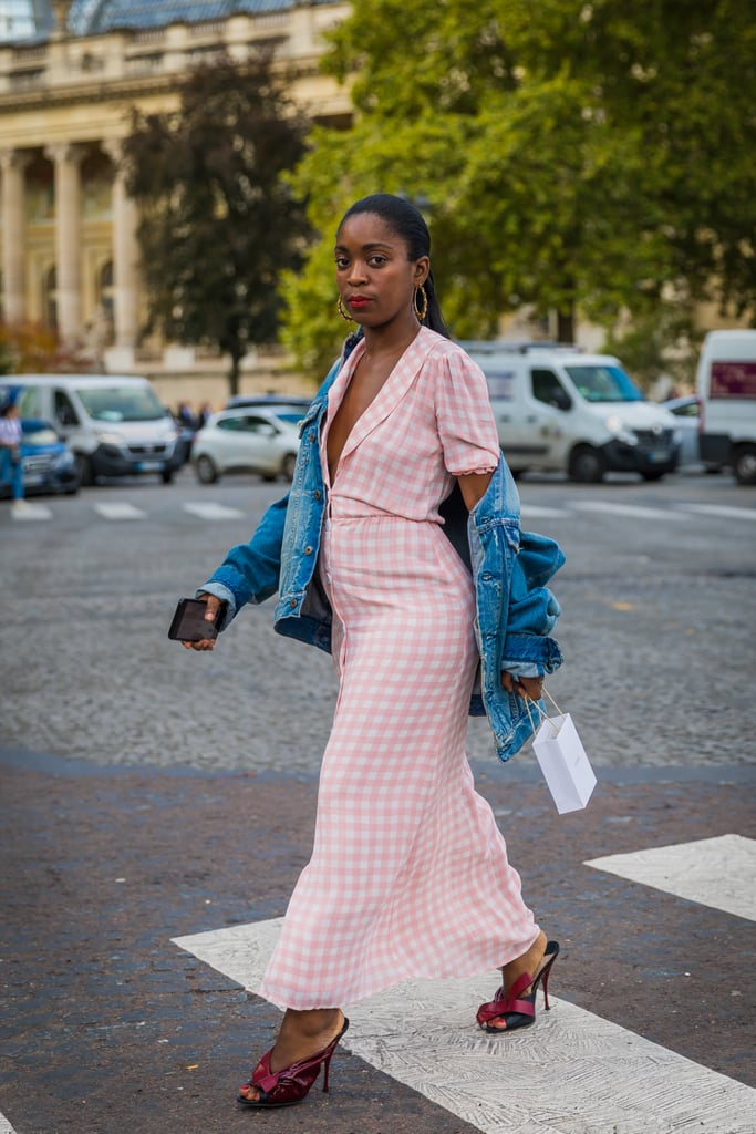 Style Your Light Gingham Dress With Dark Mules and Denim