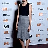 Agyness Deyn brought her signature low-key style to Toronto, wearing a black tank top with a gray pencil skirt and black ankle boots.