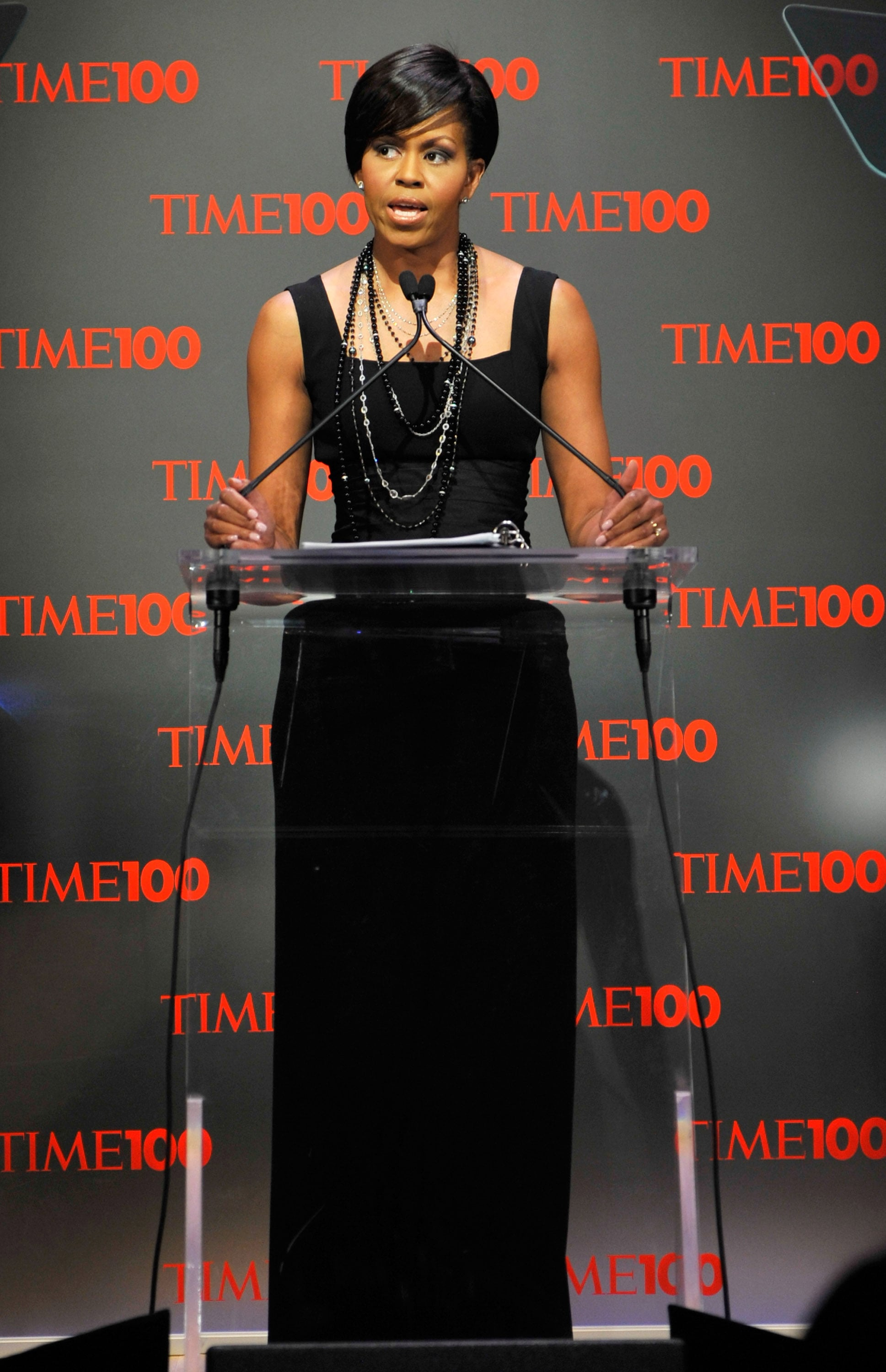 The first lady spoke at the Time 100 gala in 2009, wearing a black Michael Kors gown cinched with a Peter Soronen corset belt.