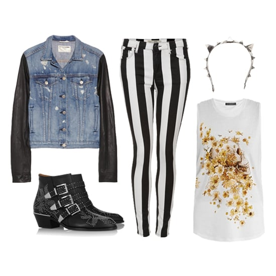 This rocker-chic daytime look is perfect for the girlie girl with a tough exterior. Start with a pair of black-and-white striped jeans, then add an artsy floral skull-print tank. A denim jacket with leather sleeves makes for an unexpected layering piece, and you can't go wrong with flat studded ankle boots. For the pièce de résistance, we chose this silver studded headband — a worthy splurge for your inner punk princess. Shop this look:  Rag & Bone Jean Leather-Sleeved Denim Jacket ($575) Topshop Moto Stripe Leigh Jeans ($80) Emanuele Bicocchi Pierced Headband ($1,095) Alexander McQueen Floral Skull Tank Top ($380) Chloé Susanna Studded Leather Boots ($1,345)