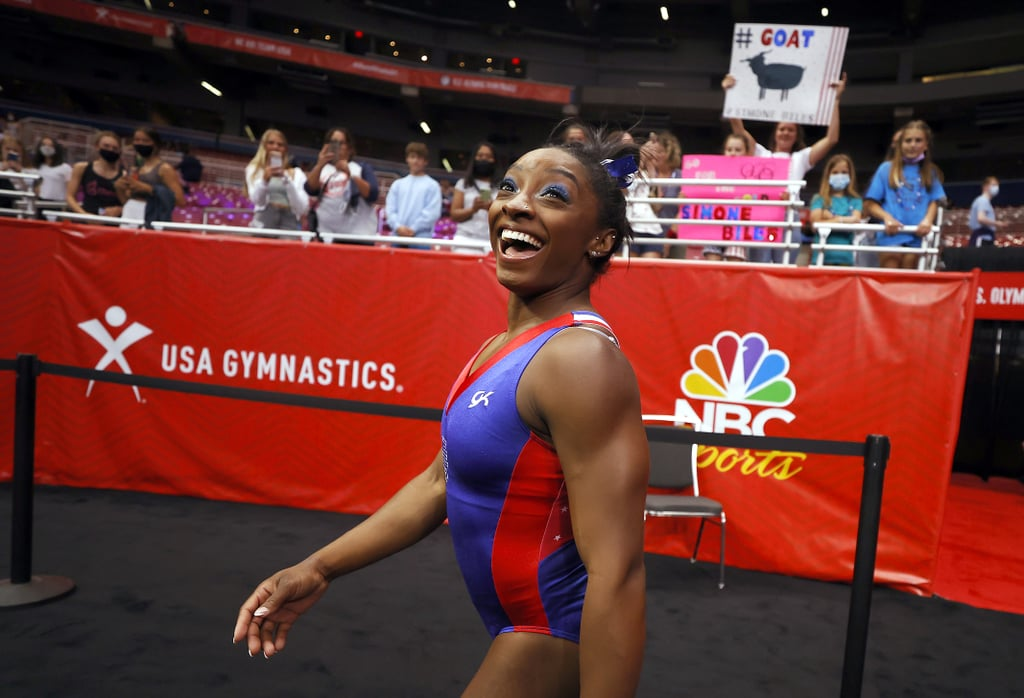 Simone Biles Wears Crystal Goat Slides For Olympic Trials