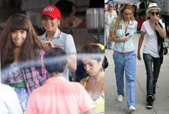 Photos of America Ferrera, Lindsay Lohan, Samantha Ronson on Ugly Betty Set