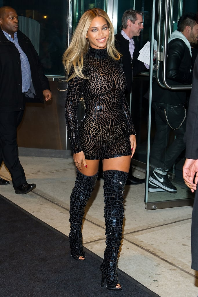 pictures beyonce in black dress  boots album launch