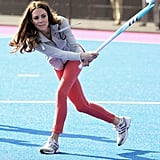 She put her athletic prowess on display when she played a game of hockey during a visit to the Olympic Park in March 2012.