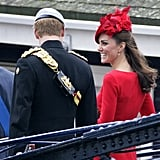 She flashed a big grin at Prince Harry when they attended the Diamond Jubilee Thames River Pageant in London in June 2012.
