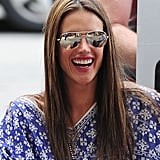 With sleek strands a pop of pink on her lips, Alessandra Ambrosio looked gorgeous while running errands in NYC.