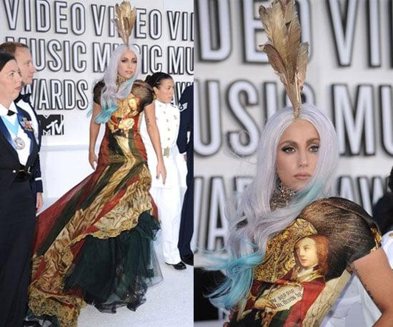 Lady Gaga at 2010 MTV VMAs wearing Alexander McQueen