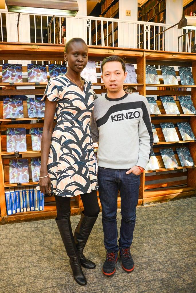 Alek Wek and Humberto Leon at the Kenzo Pre-Fall presentation.