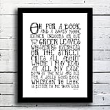 John Wilson's quote about book lovers ($23) is the theme of this typography print.