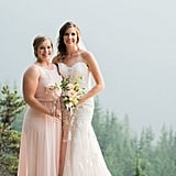 This bride had her maid of honor by her side in a baby pink dress.