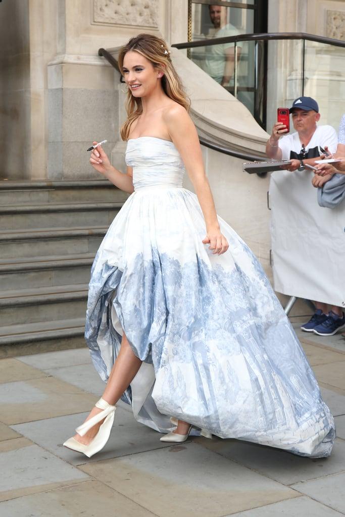 Lily James\'s Oscar de la Renta Ball Gown and Ribbon Heels | POPSUGAR ...