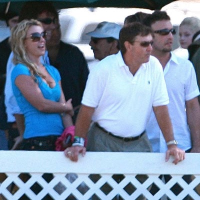 Britney Spears with Jamie Spears and Larry Rudolph At the Racetrack