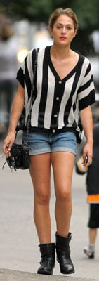 Roxy Olin Wears Striped Sweater, Jean Shorts, and Boots in NYC