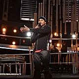 LL Cool J got ready for his hosting gig during Grammys rehearsals.