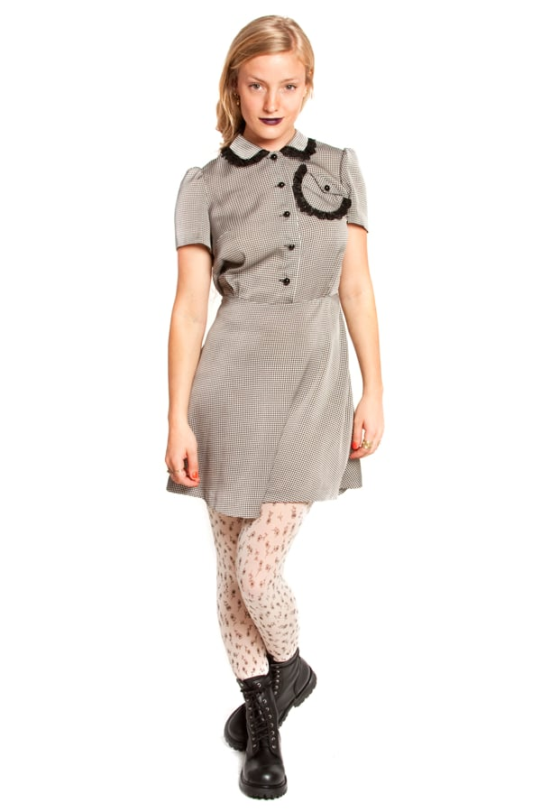 Lesley peter pan collar flared dress w/lace in houndstooth