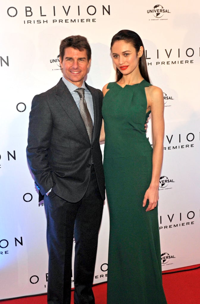 Tom Cruise arrived at Dublin's Savoy Cinema last night to premiere Oblivion with his costar Olga Kurylenko. Olga appropriately wore Ireland's national color, green, with her Roland Mouret gown for their latest stop on a European press tour. Dublin welcomed Tom with open arms. Following a reception hosted by the Department of Foreign Affairs honoring his Irish ancestry, he celebrated by pouring pints at the Guinness Storehouse. Tom and Olga premiered Oblivion in Austria Tuesday after stopping in Moscow on Monday and South America last week.