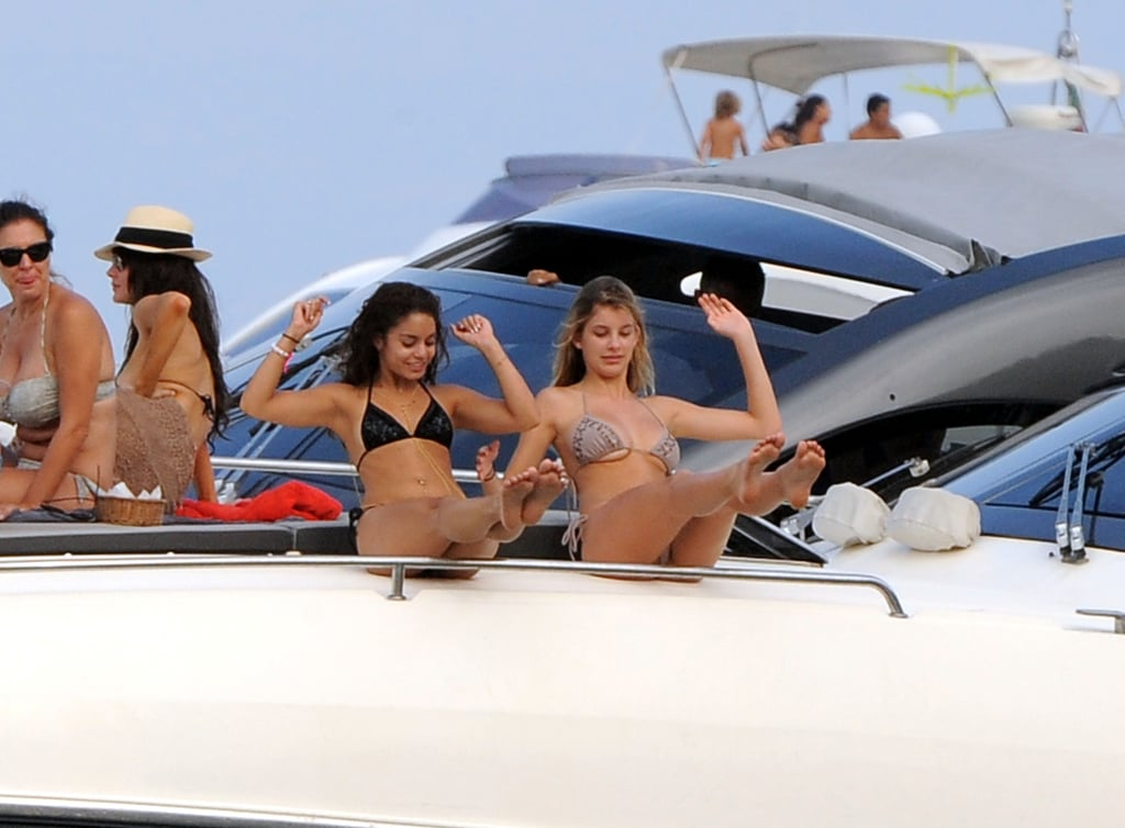 Vanessa Hudgens joked around with a friend during a yacht vacation in Italy in July.