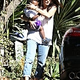 Sandra Bullock in jeans with son Louis.