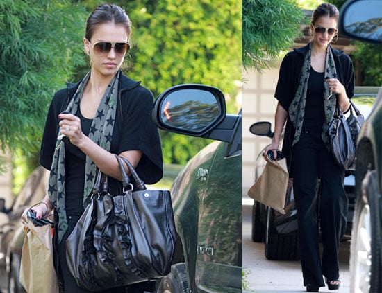 Photos of Jessica Alba in Hollywood, Recently Announced She Designed a Spread the Love T-shirt