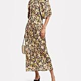 Les Reveries Bias Puff Sleeve Floral Dress