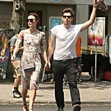Keira Knightley and fiancé James Righton hailed a taxi in NYC.