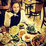 Drew Barrymore indulged her Chinese-food craving. Source: Instagram user drewbarrymore