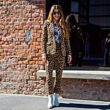 With a Contrast Printed Suit, Like Leopard