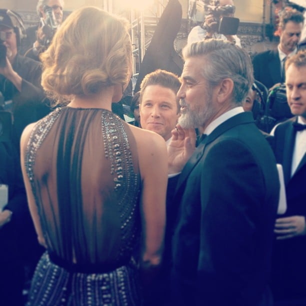 George Clooney and Stacy Kiebler chatted with the press at