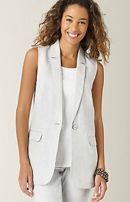 If it's too hot for a blazer, add polish with the sleeveless variety. This one would look fantastic over a pretty printed dress.  J.Jill Shimmer Linen Vest ($20)