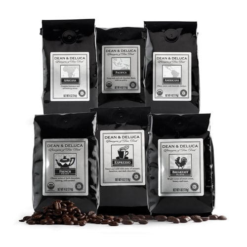 The Dean & Deluca coffee sampler ($36) includes six flavors of java to last him through the season and beyond.