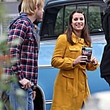 Lea and Her Glee Guys Chord and Corey Share a Snack on Set