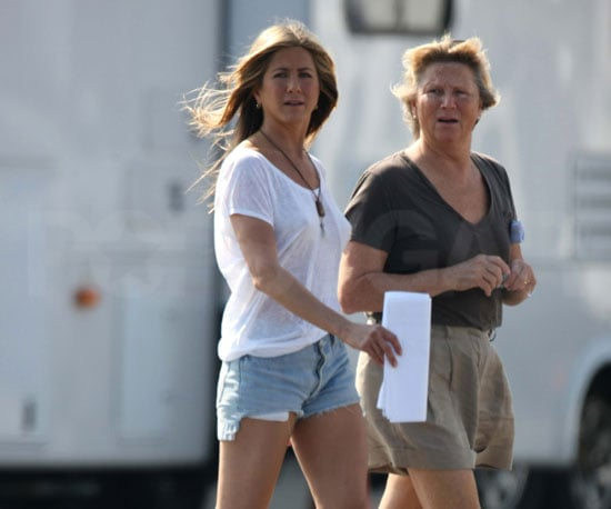 Slide Photo of Jennifer Aniston Wearing Short Shorts