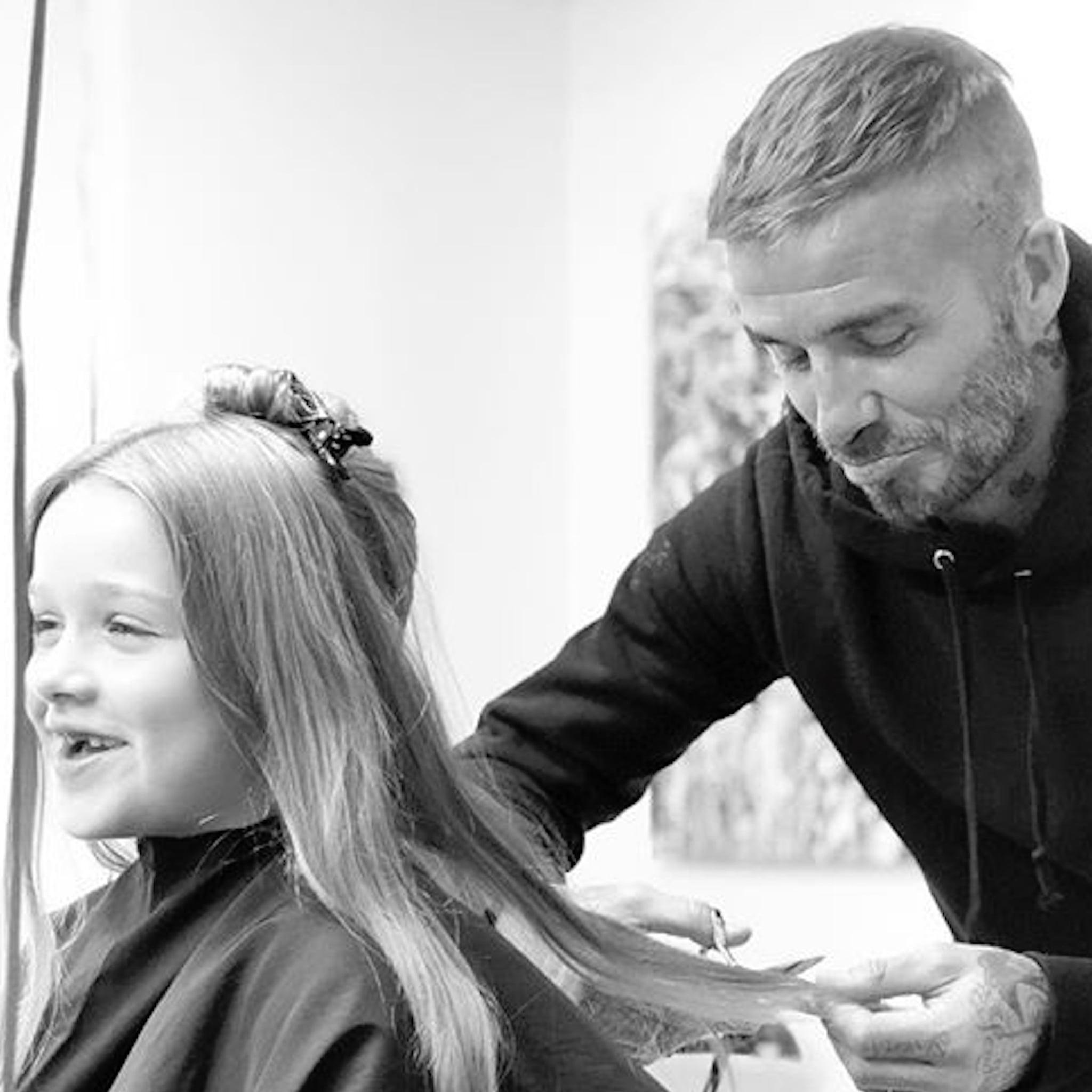 david beckham cutting harper's hair instagram photo 2018 | popsugar