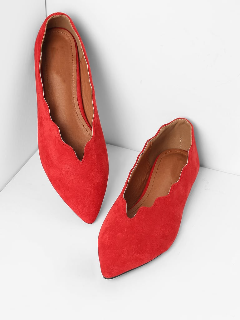 Romwe Scalloped-Trim Pointed-Toe Flats