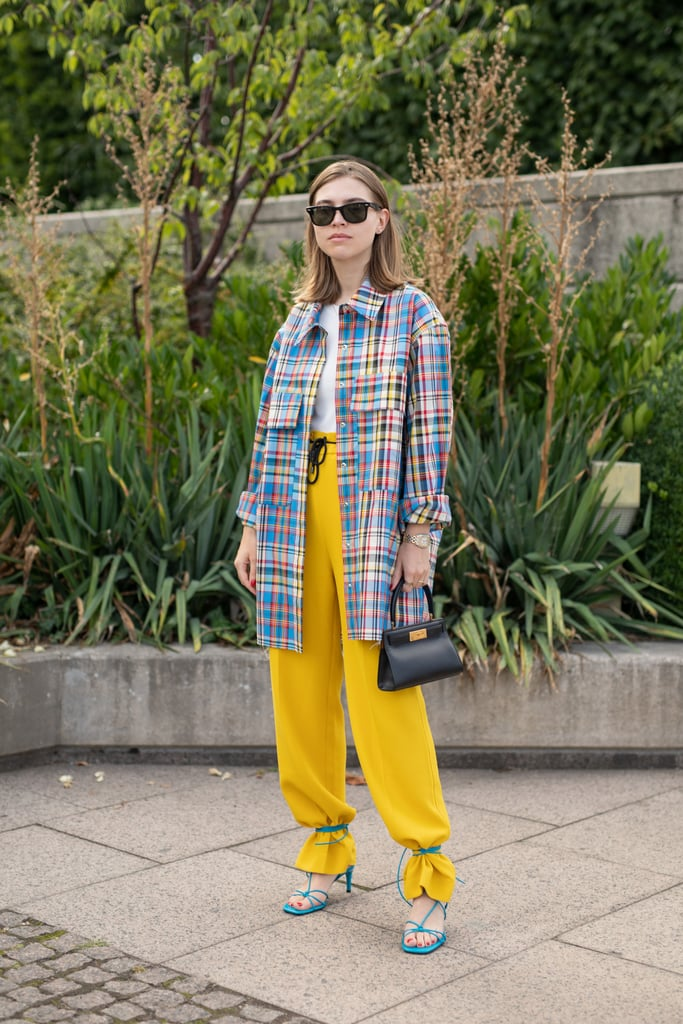 Style Blue Heels With Yellow Pants
