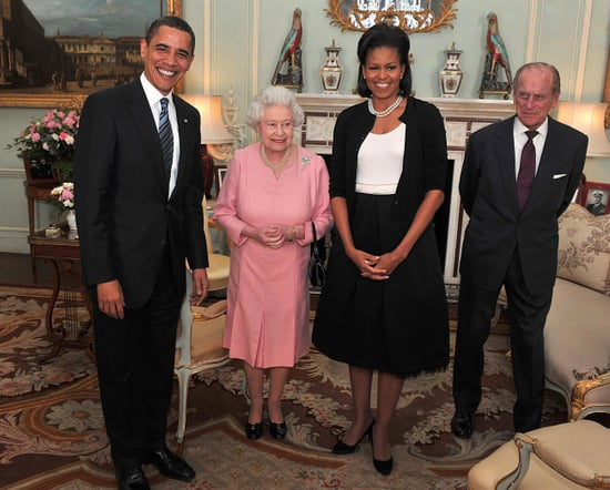 Michelle and Barack Obama with Queen Elizabeth II